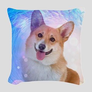 Smiling Corgi Woven Throw Pillow