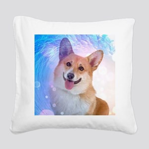 Smiling Corgi Square Canvas Pillow