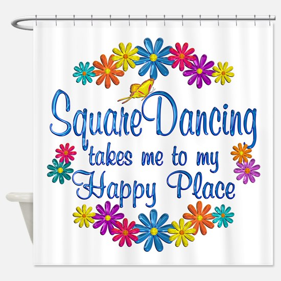 Square Dancing Happy Place Shower Curtain