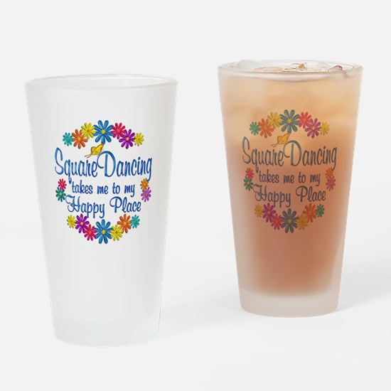 Square Dancing Happy Place Drinking Glass