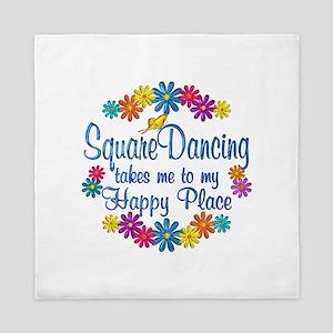 Square Dancing Happy Place Queen Duvet
