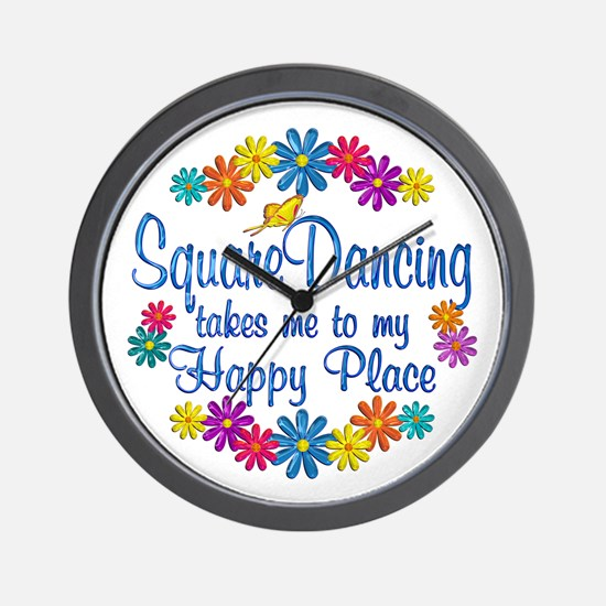Square Dancing Happy Place Wall Clock