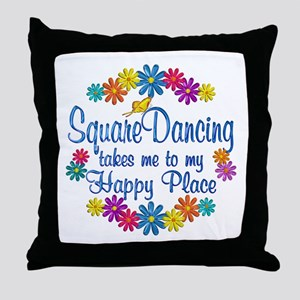 Square Dancing Happy Place Throw Pillow