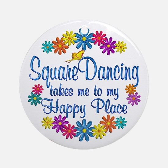 Square Dancing Happy Place Ornament (Round)