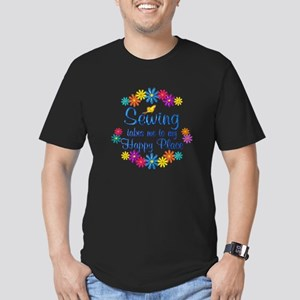 Sewing Happy Place Men's Fitted T-Shirt (dark)