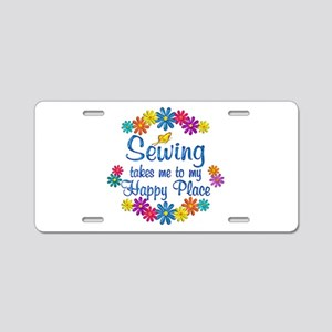 Sewing Happy Place Aluminum License Plate
