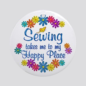 Sewing Happy Place Ornament (Round)
