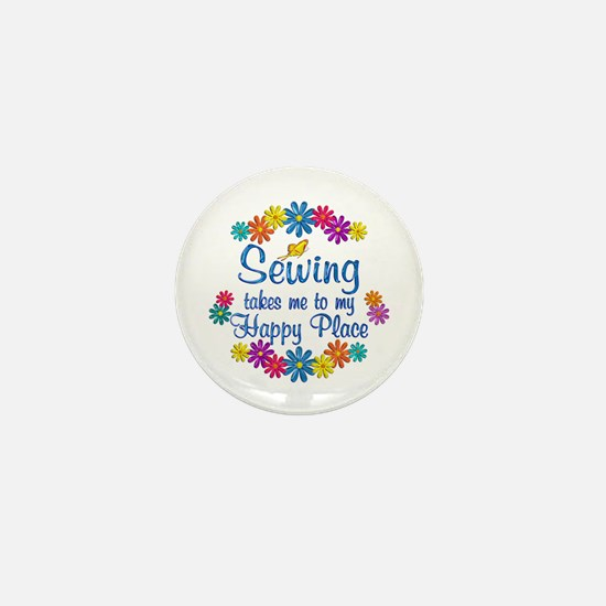 Sewing Happy Place Mini Button