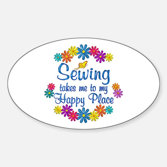 Sewing Happy Place Sticker (Oval)