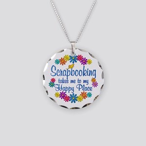 Scrapbooking Happy Place Necklace Circle Charm