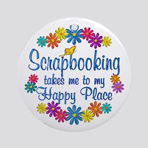 Scrapbooking Happy Place Ornament (Round)