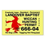 Wicca Hunting Permit (rectangle 10 Pk) Sticker