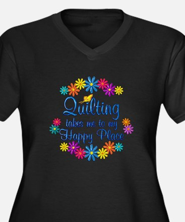 Quilting Hap Women's Plus Size V-Neck Dark T-Shirt