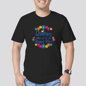 Quilting Happy Place Men's Fitted T-Shirt (dark)
