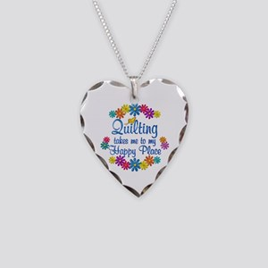 Quilting Happy Place Necklace Heart Charm