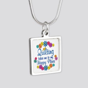 Quilting Happy Place Silver Square Necklace