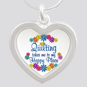 Quilting Happy Place Silver Heart Necklace