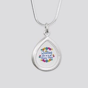 Quilting Happy Place Silver Teardrop Necklace