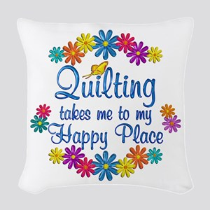 Quilting Happy Place Woven Throw Pillow