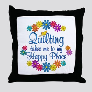 Quilting Happy Place Throw Pillow