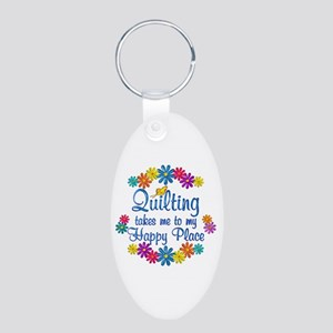 Quilting Happy Place Aluminum Oval Keychain