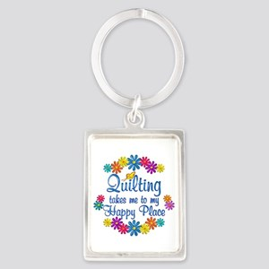 Quilting Happy Place Portrait Keychain