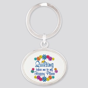 Quilting Happy Place Oval Keychain