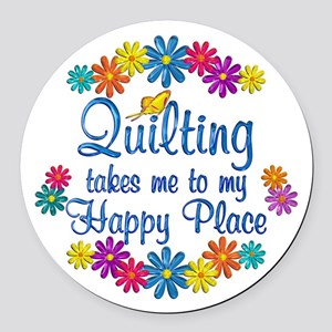 Quilting Happy Place Round Car Magnet