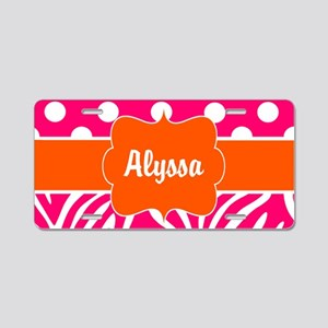 Pink Green Dots Zebra Personalized Aluminum Licens