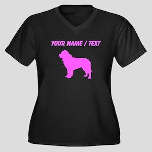 Custom Pink Newfoundland Silhouette Plus Size T-Sh