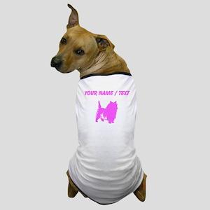 Custom Pink Cairn Terrier Silhouette Dog T-Shirt