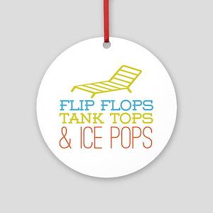 Flip Flops Ice Pops Ornament (Round)