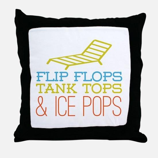Flip Flops Ice Pops Throw Pillow