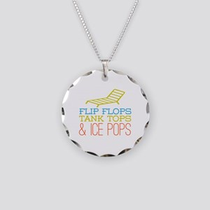 Flip Flops Ice Pops Necklace Circle Charm
