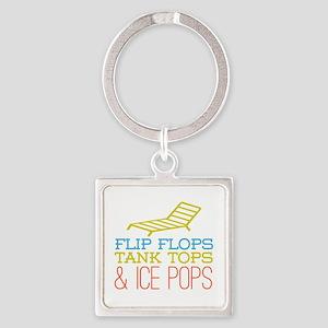 Flip Flops Ice Pops Square Keychain