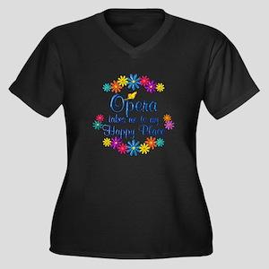 Opera Happy Women's Plus Size V-Neck Dark T-Shirt