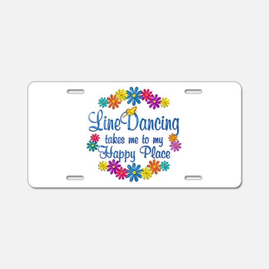 Line Dancing Happy Place Aluminum License Plate