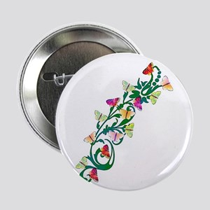 """colorful vine of butterflies 2.25"""" Button"""