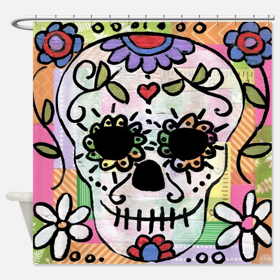 day of the dead bathroom Shower Curtain