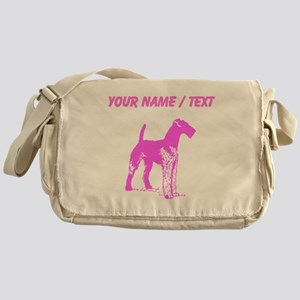 Custom Pink Airedale Silhouette Messenger Bag