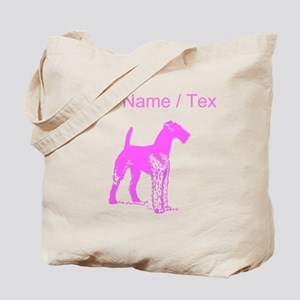 Custom Pink Airedale Silhouette Tote Bag