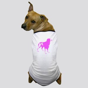 Pink Brittany Silhouette Dog T-Shirt