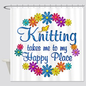 Knitting Happy Place Shower Curtain