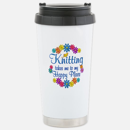 Knitting Happy Place Stainless Steel Travel Mug