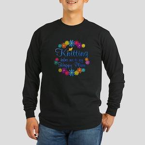 Knitting Happy Place Long Sleeve Dark T-Shirt
