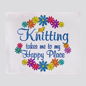 Knitting Happy Place Throw Blanket