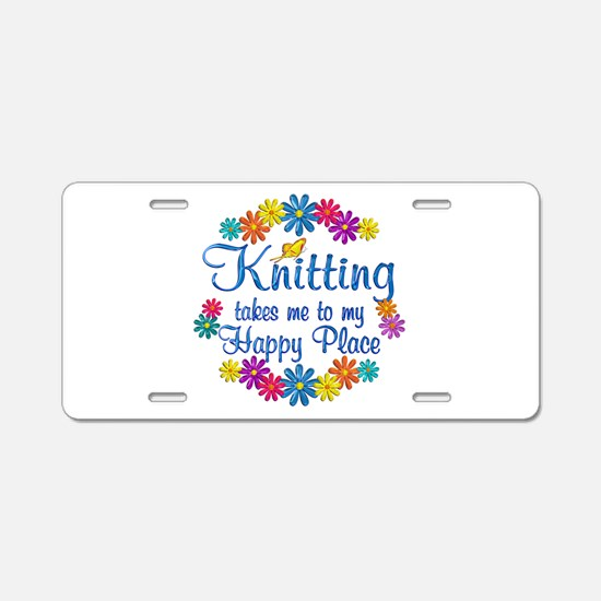 Knitting Happy Place Aluminum License Plate
