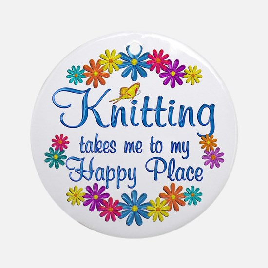 Knitting Happy Place Ornament (Round)