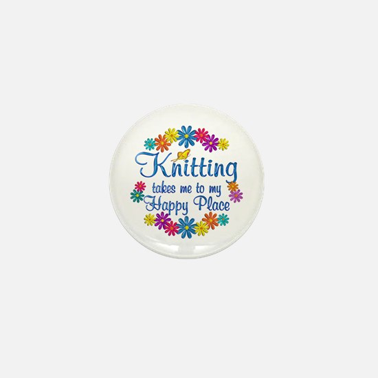 Knitting Happy Place Mini Button