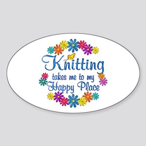 Knitting Happy Place Sticker (Oval)